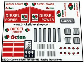 Precut Custom Replacement Stickers for Lego Set 5563 - Racing Truck (1999)