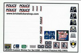 Precut Custom Replacement Stickers for Lego Set 6398 - Central Precinct HQ (1993)
