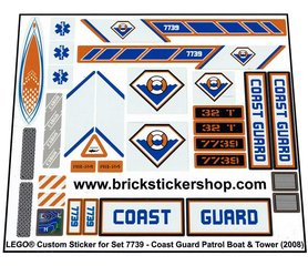 Precut Custom Replacement Stickers for Lego Set 7739 - Coast Guard Patrol Boat & Tower (2008)
