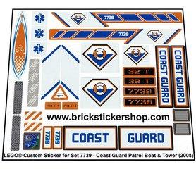 Precut Custom Replacement Stickers voor Lego Set 7739 - Coast Guard Patrol Boat & Tower (2008)