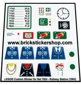 Precut Custom Replacement Stickers for Lego Set 7824 - Railway Station (1983)