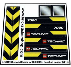 Precut Custom Replacement Stickers for Lego Set 8069 - Backhoe Loader (2011)