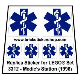 Precut Custom Replacement Stickers for Lego Set 3312  - Medic's Station (1998)