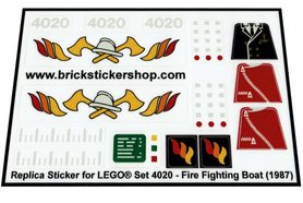 Precut Custom Replacement Stickers for Lego Set 4020 - Fire Fighting Boat (1987)