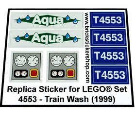 Precut Custom Replacement Stickers for Lego Set 4553 - Train Wash (1999)