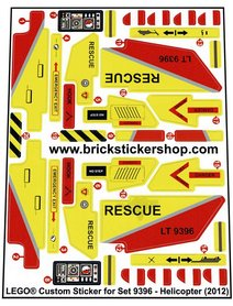 Precut Custom Replacement Stickers for Lego Set 9396 - Helicopter (2012)
