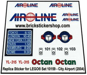 Precut Custom Replacement Stickers for Lego Set 10159 - City Airport (2004)
