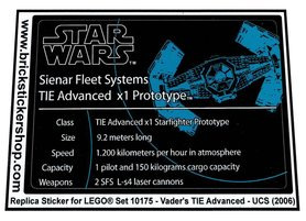 Precut Custom Replacement Stickers for Lego Set 10175 - Vader's TIE Advanced - UCS (2006)