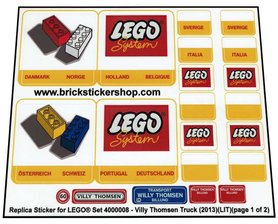 Precut Custom Replacement Stickers for Lego Set 4000008 - Villy Thomsen Truck (2013)