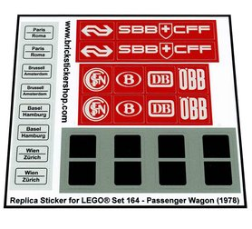 Precut Custom Replacement Stickers for Lego Set 164 - Passenger Wagon (1978)