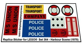 Precut Custom Replacement Stickers for Lego Set 364 - Harbour Scene (1975)