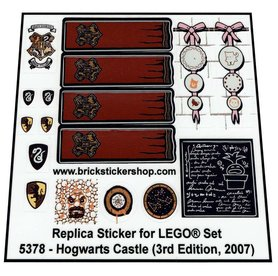 Precut Custom Replacement Stickers for Lego Set 5378 - Hogwarts Castle (3rd Edition, 2007)
