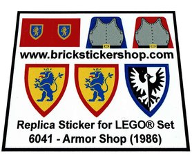 Precut Custom Replacement Stickers for Lego Set 6041 - Armor Shop (1986)