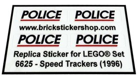 Precut Custom Replacement Stickers for Lego Set 6625 - Speed Trackers (1996)
