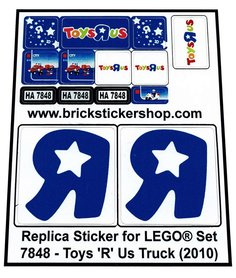 Precut Custom Replacement Stickers for Lego Set 7848 - Toys 'R' Us Truck (2010)