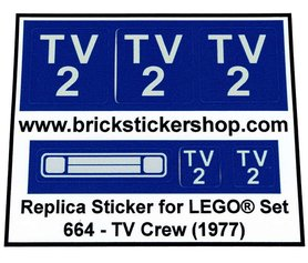 Precut Custom Replacement Stickers for Lego Set 664 - TV Crew (1977)