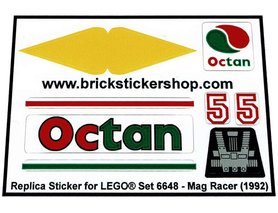 Precut Custom Replacement Stickers for Lego Set 6648 - Mag Racer (1992)