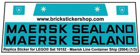 Precut Custom Replacement Stickers for Lego Set 10152 - Maersk Line Container Ship (2004)