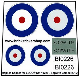 Precut Custom Replacement Stickers for Lego Set 10226 - Sopwith Camel (2012)