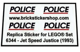 Precut Custom Replacement Stickers for Lego Set 6344 - Jet Speed Justice (1993)