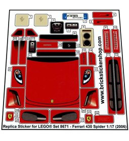 Precut Custom Replacement Stickers for Lego Set 8671 - Ferrari 430 Spider 1:17 (2006)