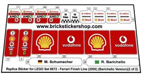 Precut Custom Replacement Stickers for Lego Set 8672 - Ferrari Finish Line (Barichello Version)(2006)