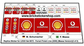 Precut Custom Replacement Stickers for Lego Set 8672 - Ferrari Finish Line (Massa Version)(2006)