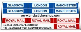 Precut Custom Replacement Stickers for Lego Set 113 - Motorized Train Set (1966)(Version 2)