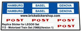 Precut Custom Replacement Stickers for Lego Set 113 - Motorized Train Set (1966)(Version 1)