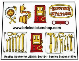 Precut Custom Replacement Stickers for Lego Set 134 - Service Station (1979)