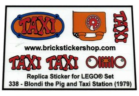 Precut Custom Replacement Stickers for Lego Set 338 - Blondi the Pig and Taxi Station (1979)