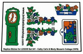 Precut Custom Replacement Stickers for Lego Set 341 - Cathy Cat's & Morty Mouse's Cottage (1979)