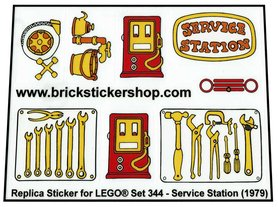 Precut Custom Replacement Stickers for Lego Set 344 - Service Station (1979)
