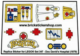 Precut Custom Replacement Stickers for Lego Set 347 - Doc David's Hospital (1979)