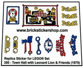 Precut Custom Replacement Stickers for Lego Set 350 - Town Hall with Leonard Lion & Friends (1979)