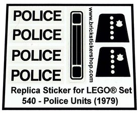 Precut Custom Replacement Stickers for Lego Set 540 - Police Units (1979)