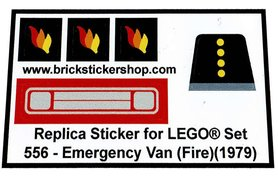 Precut Custom Replacement Stickers for Lego Set 556 - Emergency Van (Fire)(1979)