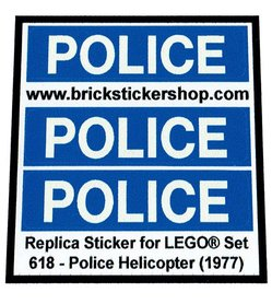 Precut Custom Replacement Stickers for Lego Set 618 - Police Helicopter (1977)