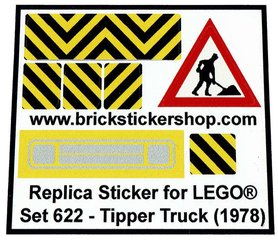 Precut Custom Replacement Stickers voor Lego Set 622 - Tipper truck (1978)