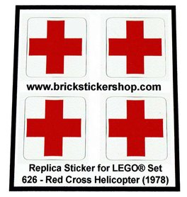 Precut Custom Replacement Stickers for Lego Set 626 - Red Cross Helicopter (1978)