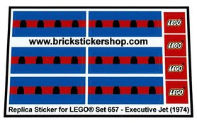 Precut Custom Replacement Stickers voor Lego Set 657 - Executive Jet (1974)