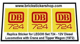 Precut Custom Replacement Stickers for Lego Set 724 - 12V Diesel Locomotive with Crane and Tipper Wagon (1972)