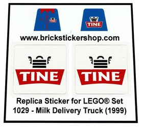 Precut Custom Replacement Stickers for Lego Set 1029 - Milk Delivery Truck - Tine (1999)