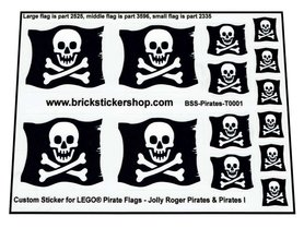 Precut Custom Sticker for Pirates & Pirates I Jolly Roger Flags