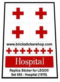 Precut Custom Replacement Stickers for Lego Set 555 - Hospital (1976)