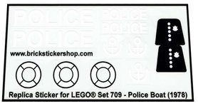 Precut Custom Replacement Stickers for Lego Set 709 - Police Boat (1978)