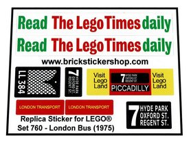 Precut Custom Replacement Stickers for Lego Set 760 - London Bus (1973)