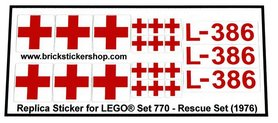 Precut Custom Replacement Stickers for Lego Set 770 - Rescue Set (1975)