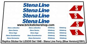 Precut Custom Replacement Stickers for Lego Set 1548 - Stena Ferry Line (1991)(Blue Version)