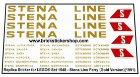 Precut Custom Replacement Stickers for Lego Set 1548 - Stena Ferry Line (1991)(Gold Version)